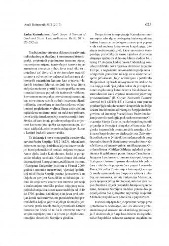 Jaska Kainulainen, Paolo Sarpi: A Servant of God and State. Leiden-Boston: Brill, 2014. : [prikaz]