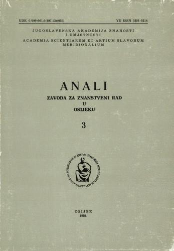 Knj. 3(1984) : Anali Zavoda za znanstveni i umjetnički rad u Osijeku