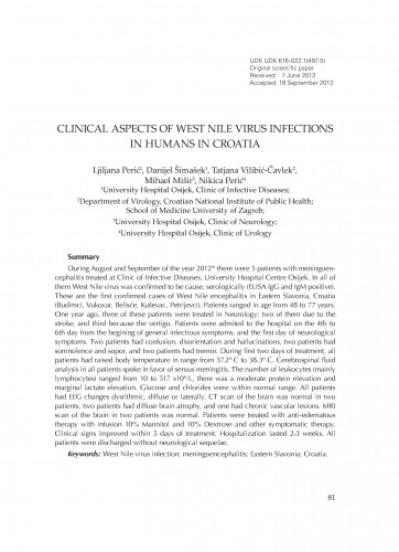 Clinical aspects of West Nile virus infections in humans in Croatia