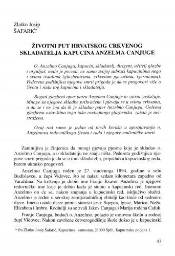 Životni put hrvatskog crkvenog skladatelja kapucina Anzelma Canjuge