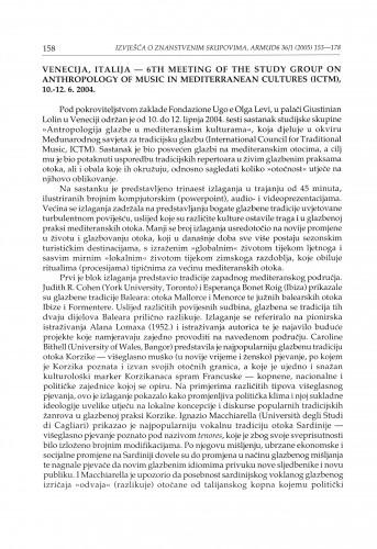 Venecija, Italija - 6th meeting of the Study group on Anthropology of music in Mediterranean cultures (ICTM), 10.-12. 6. 2004. : [izvješće]