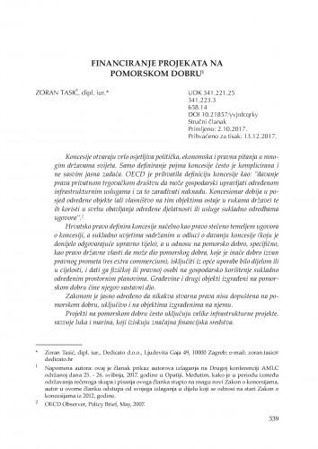 Financiranje projekata na pomorskom dobru / Zoran Tasić