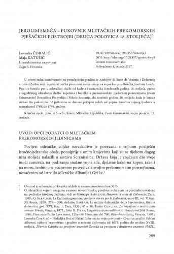 Jerolim Smeća - pukovnik mletačkih prekomorskih pješačkih postrojbi (druga polovica 18. stoljeća)