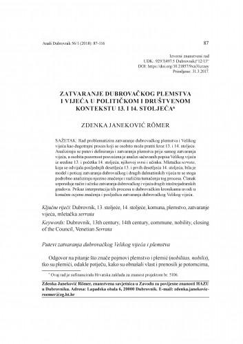 Zatvaranje dubrovačkog plemstva i vijeća u političkom i društvenom kontekstu 13. i 14. stoljeća / Zdenka Janeković Römer