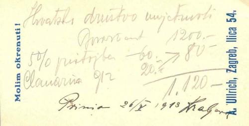 Potvrda o primitku svote za prodaju slike Bonvivant Miroslava Kraljevića