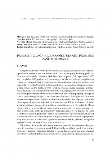 Prirodne značajke, ekološko stanje i problemi zaštite Jadrana : [uvodno izlaganje]