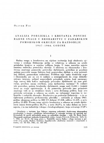 Analiza porijekla i kretanja ponude radne snage u brodarstvu u zadarskom pomorskom okružju za razdoblje 1947-1966. godine