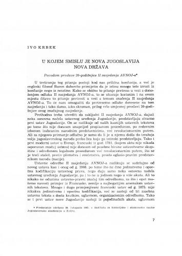 U kojem smislu je nova Jugoslavija nova država : : povodom proslave 20-godišnjice II zasjedanja AVNOJ-a