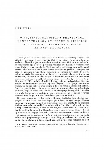 O knjižnici samostana franjevaca konventualaca sv. Frane u Šibeniku s posebnim osvrtom na njezinu zbirku inkunabula