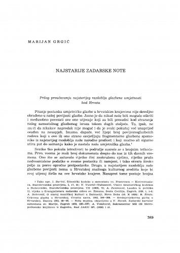 Najstarije zadarske note : prilog proučavanju najstarijeg razdoblja glazbene umjetnosti kod Hrvata