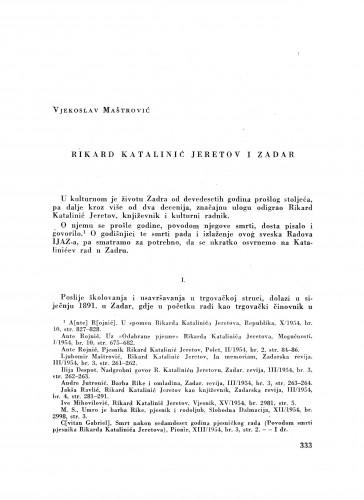 Rikard Katalinić Jeretov i Zadar
