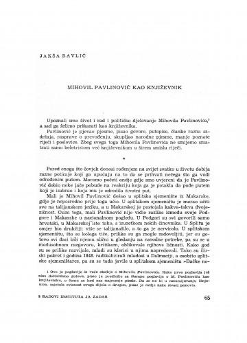Mihovil Pavlinović kao književnik