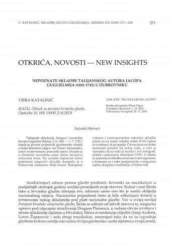 Nepoznate skladbe talijanskog autora Jacopa Guglielmija (1681-1742) u Dubrovniku