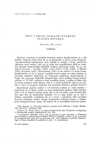 Prvi i drugi gudački kvartet Slavka Osterca