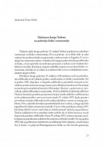 Djelatnost Josipa Torbara na području fizike i astronomije