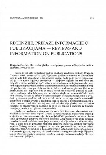 Cvetko, Dragotin: Slovenska glasba u evropskem prostoru, Ljubljana, 1991