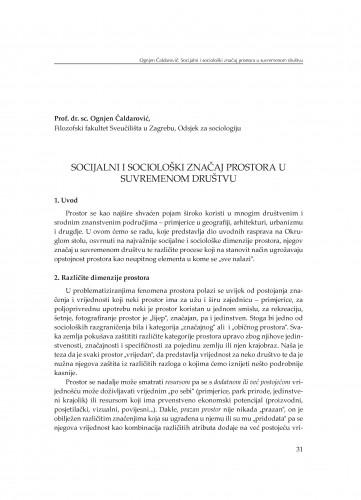 Socijalni i sociološki značaj prostora u suvremenom društvu : [uvodno izlaganje]