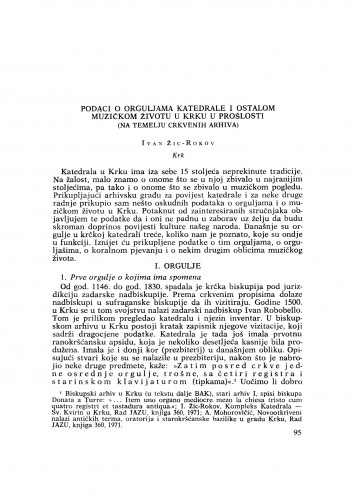 Podaci o orguljama katedrale i ostalom muzičkom životu na Krku u prošlosti (na temelju crkvenih arhiva)