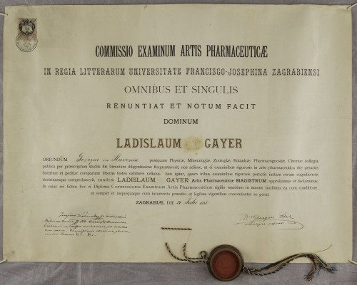 Diploma magistra farmacije Ladislava Gayera