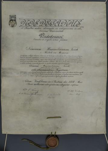 Diploma magistra farmacije Maximiliana Teicha