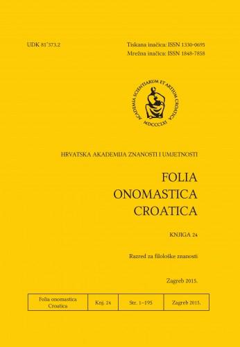 Knj. 24 (2015) : Folia onomastica Croatica