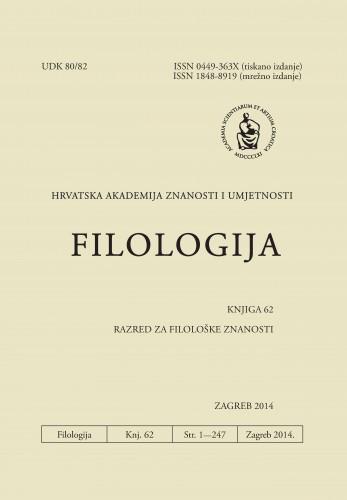 Knj. 62(2014) : Filologija : časopis Razreda za filološke znanosti Hrvatske akademije znanosti i umjetnosti