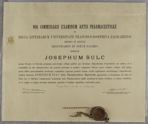 Diploma magistra farmacije Josepha Šulca