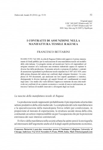I contratti di assunzione nella manifattura tessile Ragusea / Francesco Bettarini