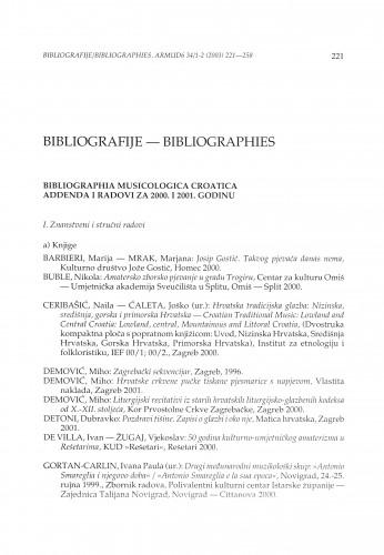 Bibliografija musicologica croatica. Addenda i radovi za 2000. i 2001. godinu