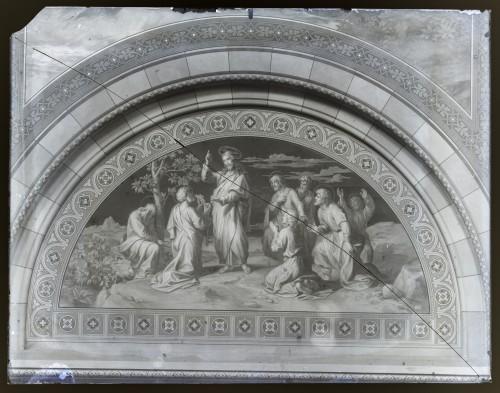 Katedrala sv. Petra (Đakovo) : Isus predaje ključeve svetom Petru, freska u luneti na zidu transepta