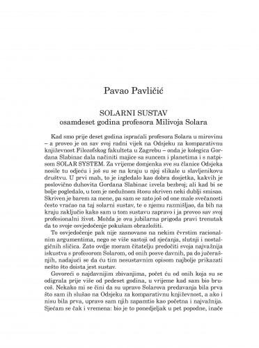 Solarni sustav : osamdeset godina profesora Milivoja Solara