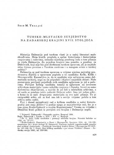 Tursko-mletačko susjedstvo na zadarskoj krajini XVIII. stoljeća