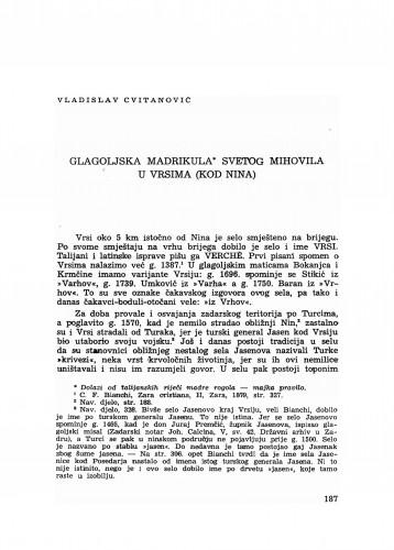Glagoljska madrikula svetog Mihovila u Vrsima (kod Nina)