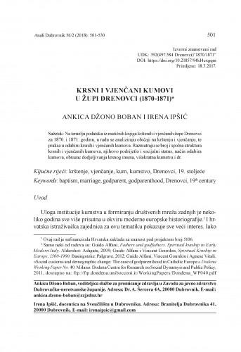 Krsni i vjenčani kumovi u župi Drenovci (1870-1871) / Ankica Džono Boban i Irena Ipšić