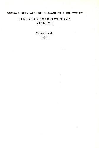 Posebna izdanja / Hrvatska akademija znanosti i umjetnosti, Centar za znanstveni rad u Vinkovcima
