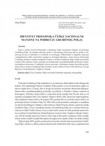 Identitet pripadnika češke nacionalne manjine na području Grubišnog Polja