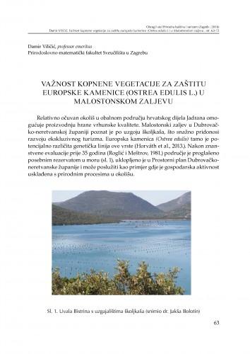 Važnost kopnene vegetacije za zaštitu europske kamenice (Ostrea edulis l.) u Malostonskom zaljevu : [prilog za raspravu]