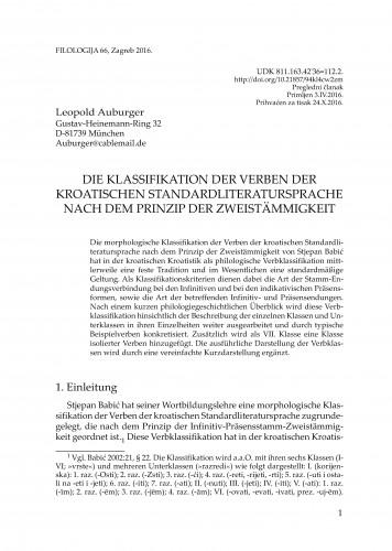 Die Klassifikation der Verben der Kroatischen standardliteratursprache nach dem Prinzip der zweistämmigkeit / Leopold Auburger