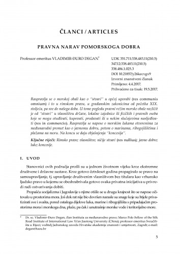 Pravna narav pomorskoga dobra / Vladimir-Đuro Degan