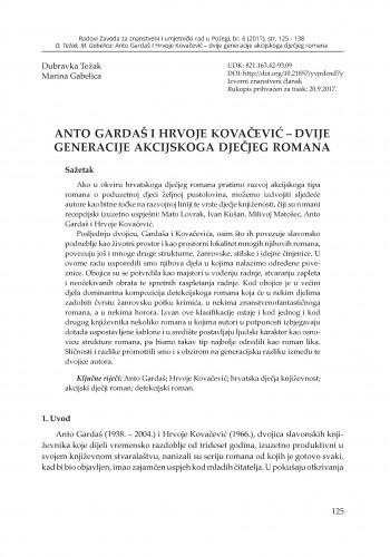 Anto Gardaš i Hrvoje Kovačević – dvije generacije akcijskoga dječjeg romana / Dubravka Težak, Marina Gabelica