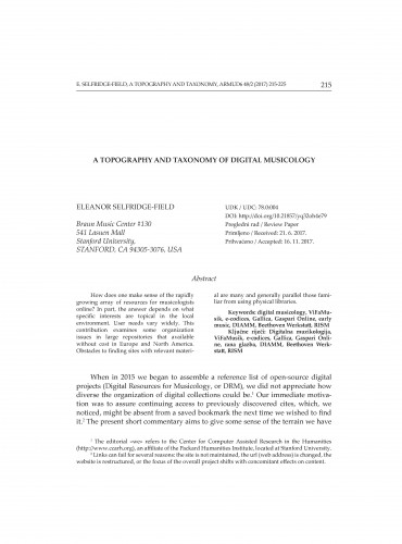A topography and taxonomy of digital musicology / Eleanor Selfridge-Field