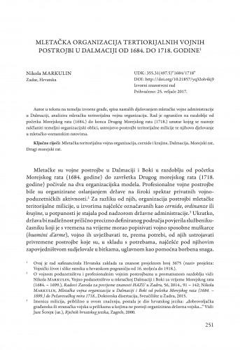 Mletačka organizacija teritorijalnih vojnih postrojbi u Dalmaciji od 1684. do 1718. godine / Markulin, Nikola