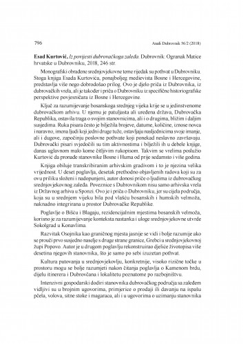 Esad Kurtović, Iz povijesti dubrovačkoga zaleđa. Dubrovnik: Ogranak Matice hrvatske u Dubrovniku, 2018. : [prikaz] / Rina Kralj-Brassard