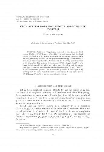 Čech system does not induce approximate systems / Vlasta Matijević