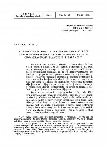 Komparativna analiza bolovanja zbog bolesti kardiovaskularnog sistema u nekim radnim organizacijama Slavonije i Baranje