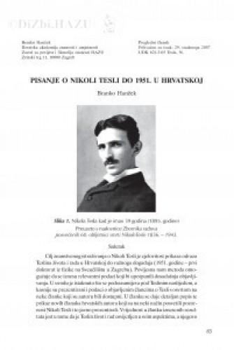 Pisanje o Nikoli Tesli do 1951. u Hrvatskoj