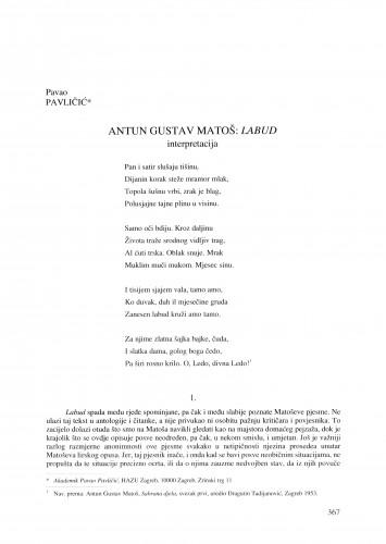 Antun Gustav Matoš: Labud - interpretacija