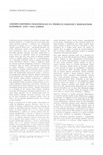 Agrarna reforma i kolonizacija na području Baranje u međuratnom razdoblju : (1919-1941) godine