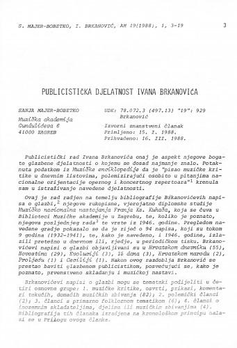 Publicistička djelatnost Ivana Brkanovića