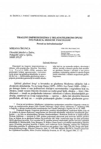 Tragovi impresionizma u skladateljskom opusu Ive Paraća: Musiche Pascoliane. Povod za (re)valorizaciju